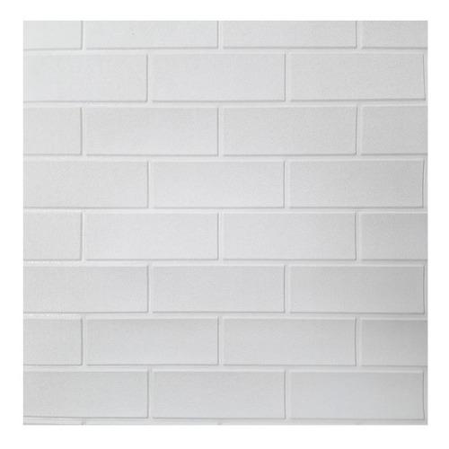 Placa Pastilha Painel 70x76cm 3d Tijolo Branco Auto Adesivo