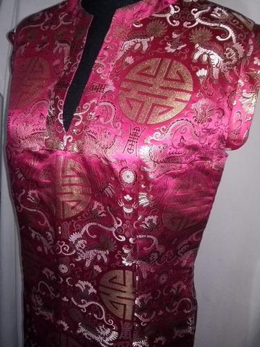 Qipao Vestido Tradicional Chino Brocado Seda Calidadad T. M