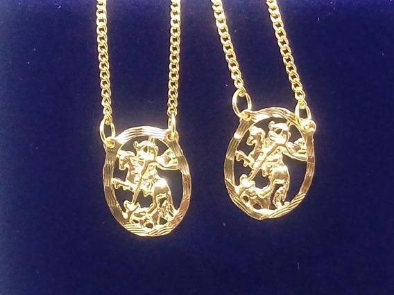 Escapulario Banhado A Ouro 18k De São Jorge Vazado