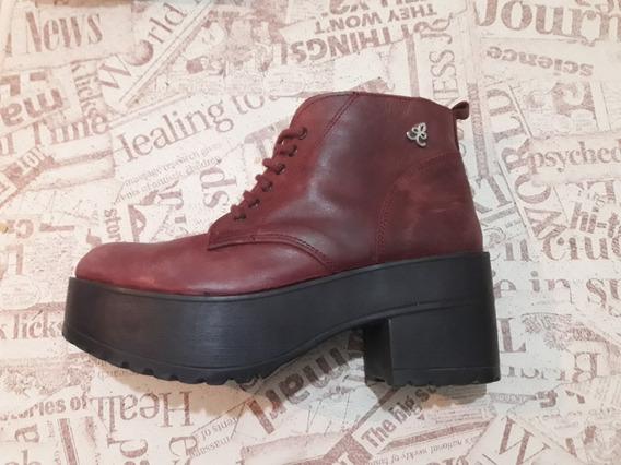 Borcego Bota Cuero Mujer Zapato Bordo