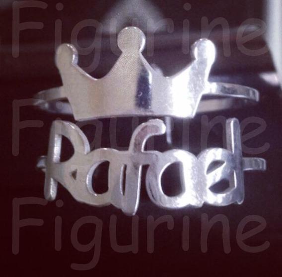 Anel De Nome Personalizado Duplo Com Coroa Em Prata 925 !