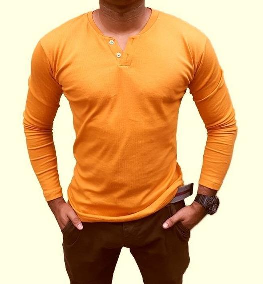 Camiseta Henley Slim Fit 2 Botões - Frete Grátis P 3 Peças