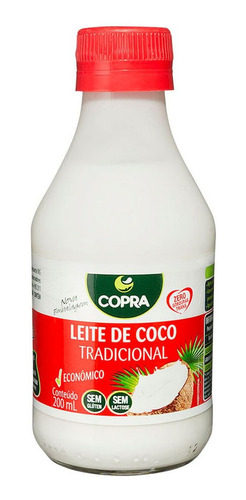 Imagem 1 de 2 de Leite De Coco Culinario Tradicional Copra Vidro 200ml