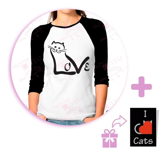 Playera Raglan Dama Mundo Gatu Love Cat + Sticker