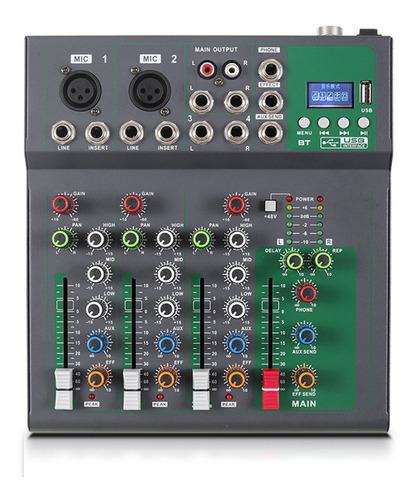 Consola De Mezcla Portátil De 4 Canales Mezclador De Audio D