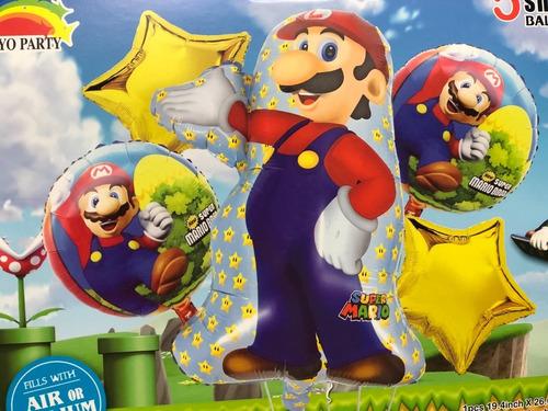 Set De Globos Metalizados De  Mario Bros Y Luigi