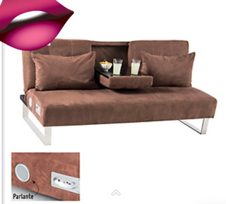 Sofa Cama Reclinable Microfibra Con Bluetooth Y Parlantes