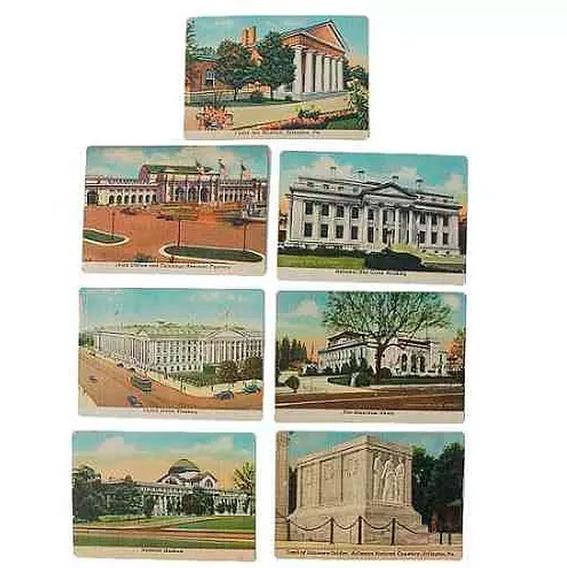 7 Cartões Com Desenhos Dos Eua - Anos 60 (não São Postais)