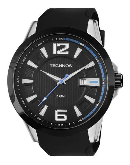 Relógio Technos Masculino Analógico Preto Azul Silicone