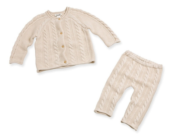 Conjunto Bebé Suéter Y Pantalón Tejido Punto 12, 18 Y 24 M