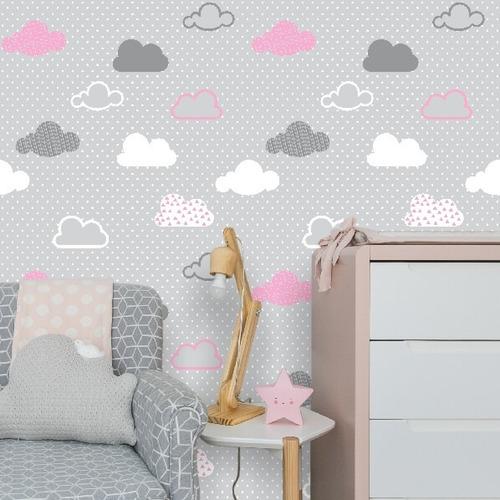 Imagem 1 de 2 de Papel De Parede Adesivo Nuvens Rosa, Branca E Cinza 3 Metros