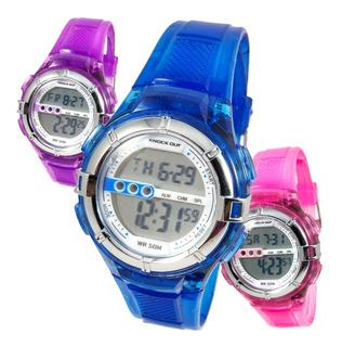 Reloj Knock Out Niño Digital Luz Fecha Cronometro Alarm 8170