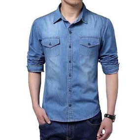 Camisa Jeans Masculina Slim Fit Casual Social Importada Luxo