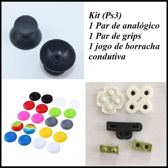 Borracha Condutiva + Analógicos + Grips Playstation 3 (ps3)
