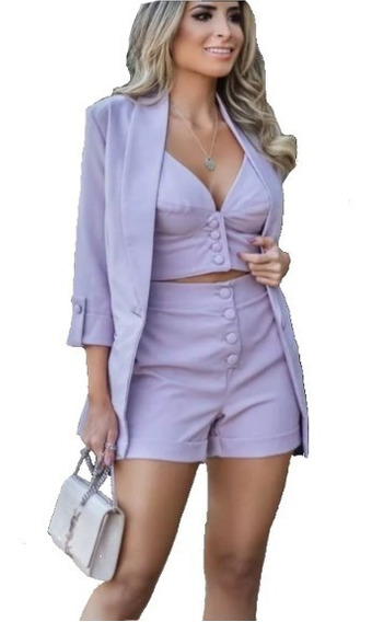 Conjunto Feminino Blazer Alfaiataria + Cropped + Short Curto