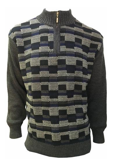 Suéter Negro De Hombre Con Medio Cierre Rectangulos