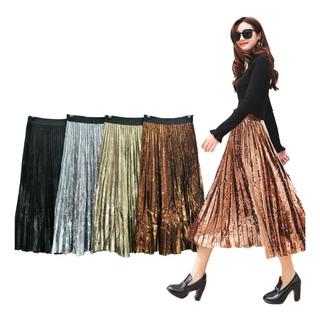 Falda Larga Brillante Plisada Trillada Moda Moderna Elegante