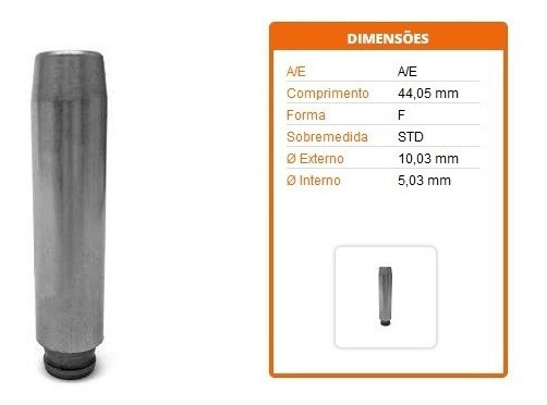 8 Guia Valvula Palio Uno Strada Punt 1.0 1.4 8v Fire Evo 5mm