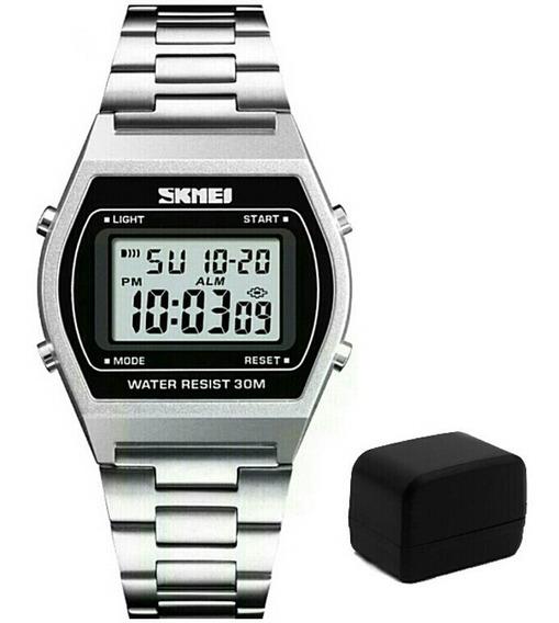 Relógio Masculino Digital Skmei 1328 Pulseira D Aço Inox