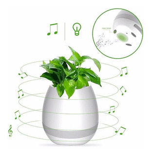 Parlante Portatil Maceta Con Luz Bluetooth Micro Sd Bateria