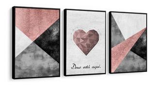 Quadro Decorativo Abstrato Coração Frase Tons Rose 32x42