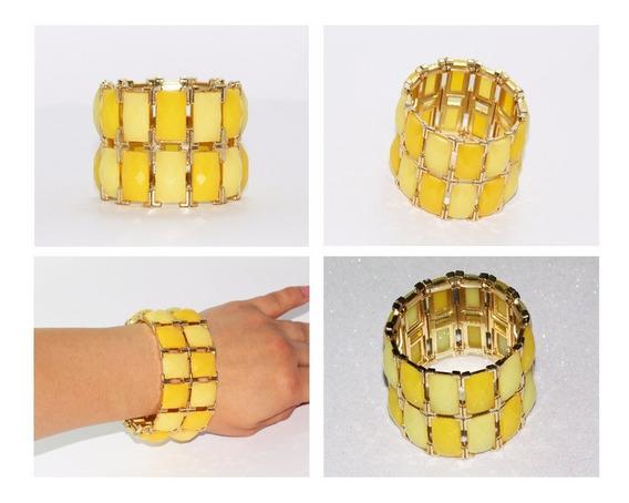 Pulsera Moda Dorado Acero Cuentas Amarillas Bisuteria Pc332