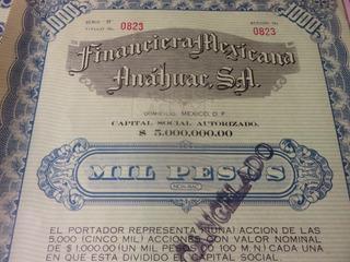 Accion Documento Antigua Financiera Mexicana Anahuac Sa 1945
