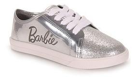 Tênis Infantil Feminino Barbie Prata Ponta Glitter