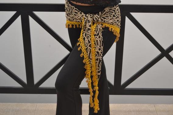 Caderin Egipcio Dzs Árabes Negro Dorado Canutillos Amarillos