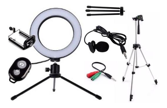 Kit Gravação Ring Light 16cm+tripé 1,20+ Acessórios E Brinde
