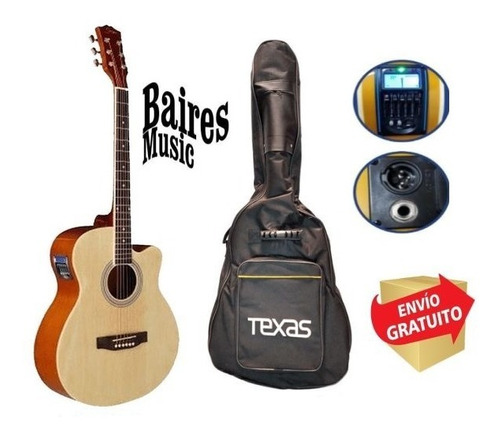Guitarra Electroacustica Texas Ag10 Lc 5 Con Afinador  Funda