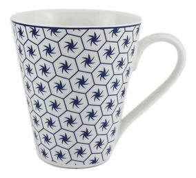 Caneca Em Porcelana Casambiente Agatha Catavento 330ml Azul