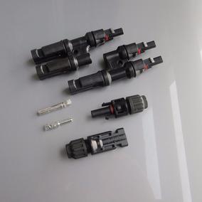 Kit Conector Mc4 2x1 Vias + Par Mc4 Ligação Painel Solar