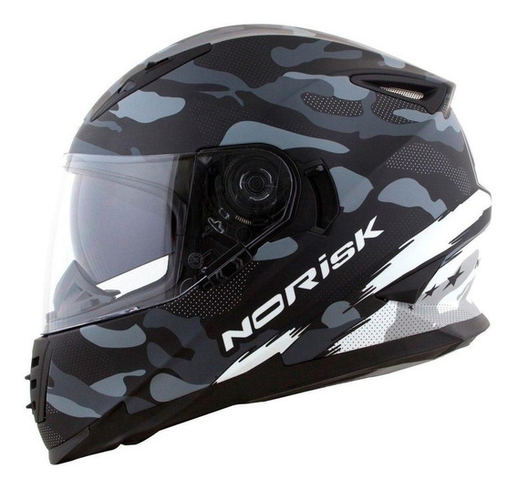 Capacete para moto integral Norisk FF302 Destroyer black/white tamanho 58