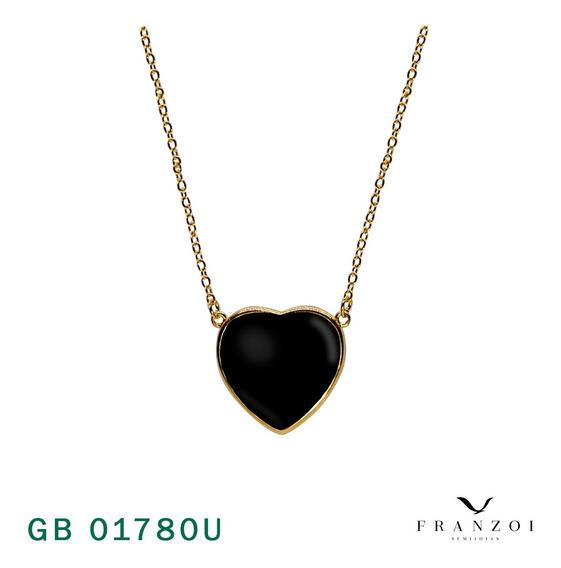 Semijoias Colar Corrente Coração Pedra Negra Bruna Folheado