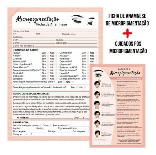 Imagem 1 de 4 de Kit Ficha Anamnese Micropigmentação + Bloco Cuidados 100fls
