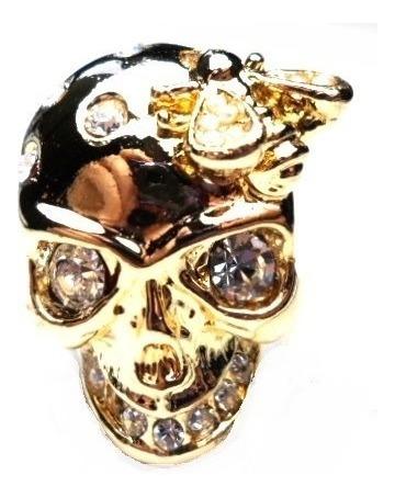 Black Friday-lov-anel Caveira Strass Banhado A Ouro