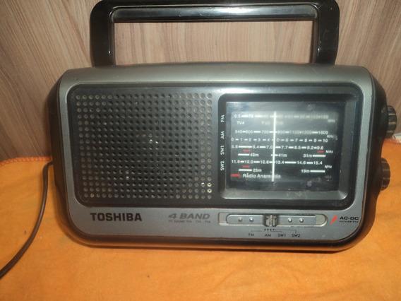 Radio Antigo Toshiba 4 Faixa Fm /c/receiver Lus /pilha Filee