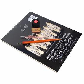 Kit De Caligrafia Profissional Nanquim - Pena Vidro - Bloco