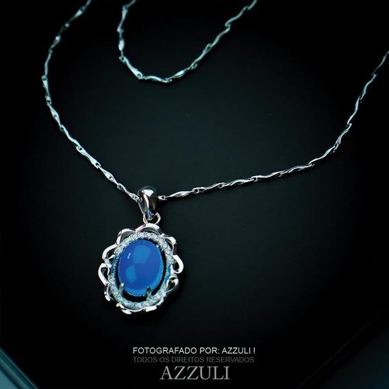 Colar Pedra Agata Azul E Zirconia Em Prata Pura 925 Barato