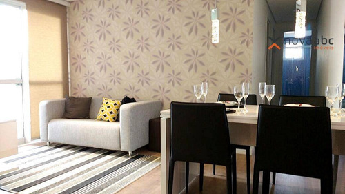 Apartamento Mobiliado Com 2 Dormitórios À Venda, 48 M² Por R$ 295.000 - Parque Das Nações - Santo André/sp - Ap1624