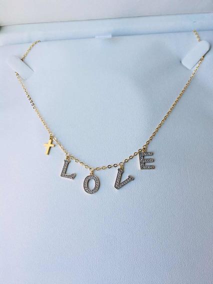 Cadena Collar Letras Love Oro 14k