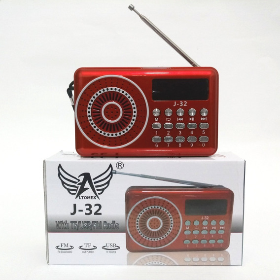 Mini Radio Digital Radio Recarregável Fm Fone Usb Cartão J32
