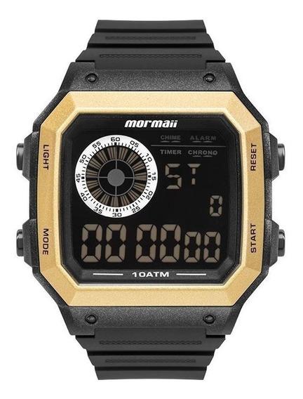Relógio Mormaii Masculino Digital Preto Dourado Prova D