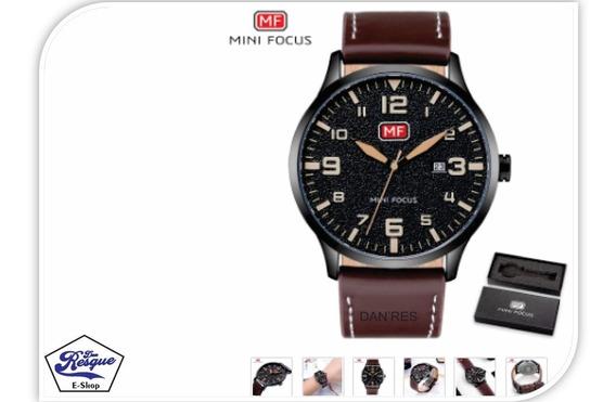 Relógio Mini Focus Mf0158g -marron De Luxo Pulseira De Couro