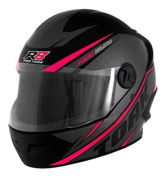 Capacete para moto integral Pro Tork R8 preto/rosa L
