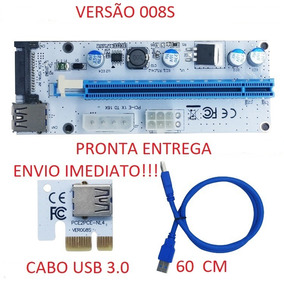 Adaptador Riser Card Cabo Usb Pcie 1x 16x Mineração Ethereum