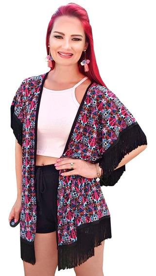 Kimono Moda Verão Feminina Com Franjas Saída De Praia Preto