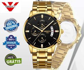 Relógio De Luxo Nibosi Original, Blindado A Prova De Aguá