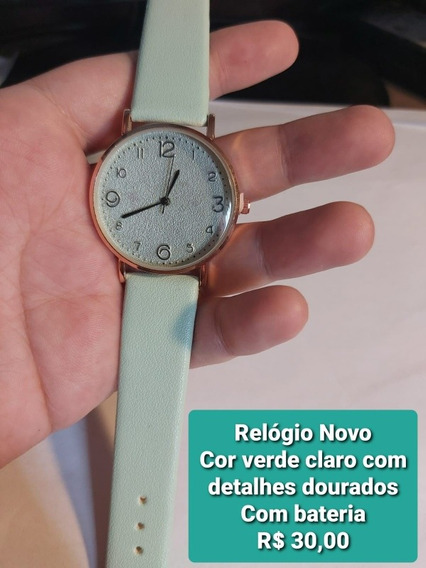 Relógio De Pulso Feminino- Verde Claro Pastel- Com Bateria